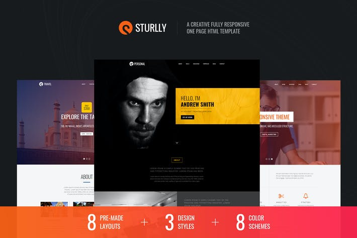 Thumbnail for Sturlly Responsive One Page Multipurpose Template