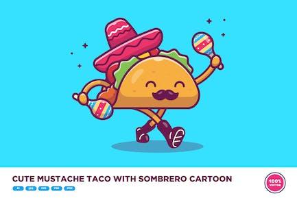 Cute Mustache Taco With Sombrero Hat Cartoon