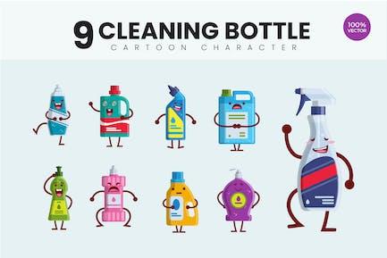 9 Lindo botella de limpieza ilustración Vector