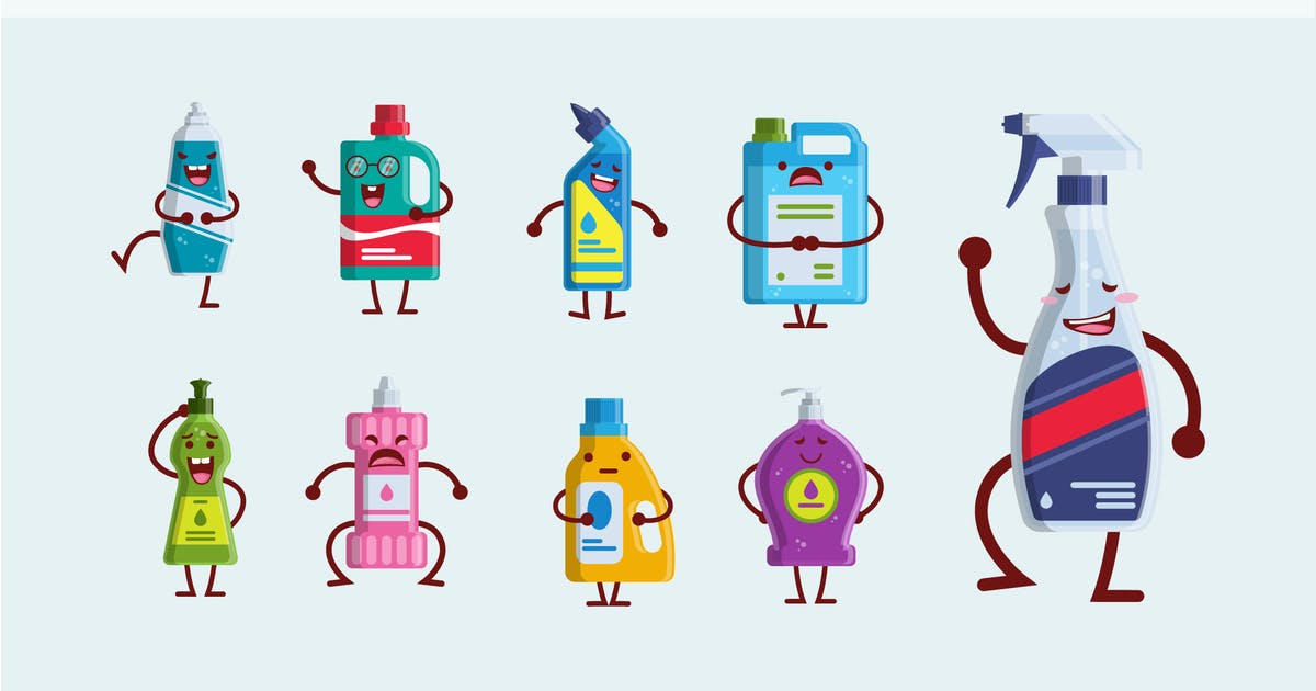 Download 9 Cute Cleaning Bottle Vector Illustration by naulicrea