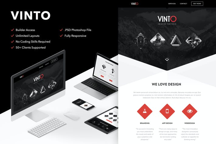 Thumbnail for Vinto - Responsive Email + Themebuilder Access