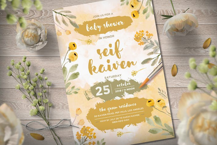 Thumbnail for Yellow Baby Shower Invitation