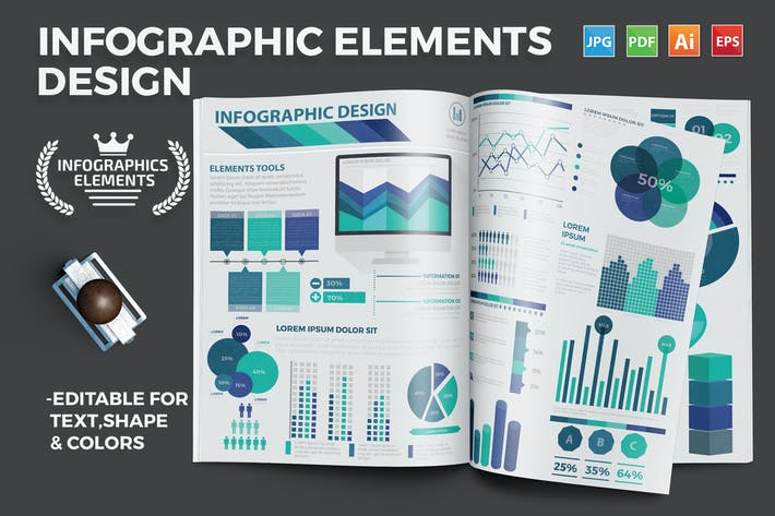 Thumbnail for Infographic flat elements design