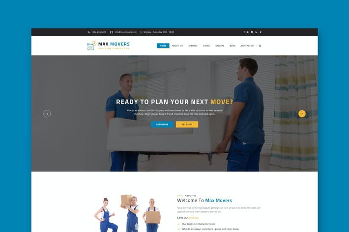 Thumbnail for Movers Website PSD Template