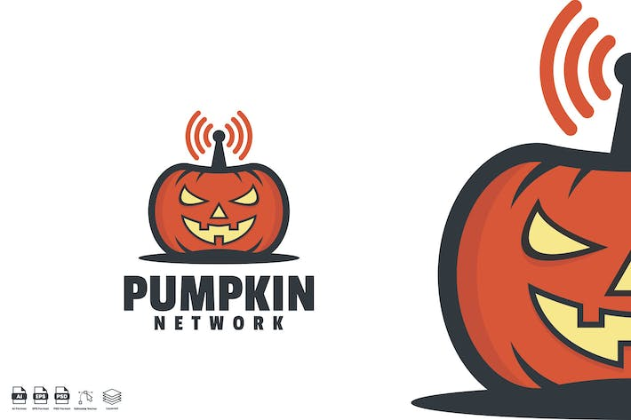 Thumbnail for pumpkin network logo template