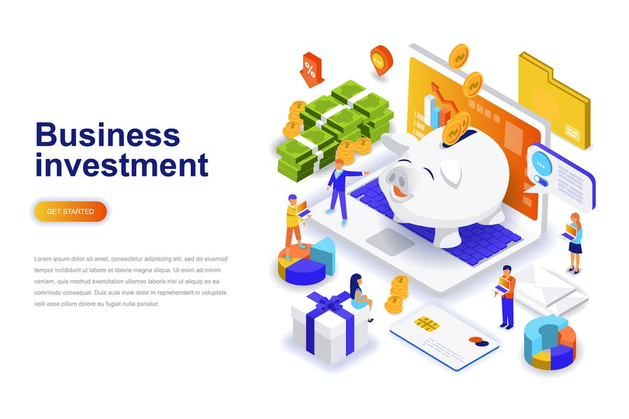 Investment Isometric Concept