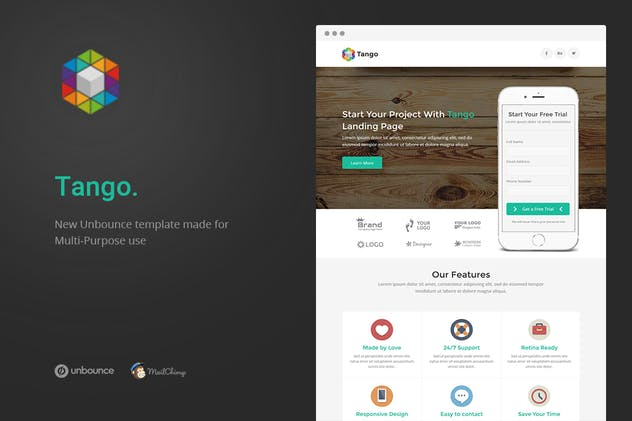 Tango - Multi-Purpose Unbounce Landing Page - product preview 0