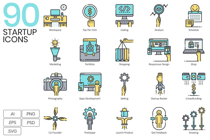 Thumbnail for 90 Startup Icons - Aqua Series