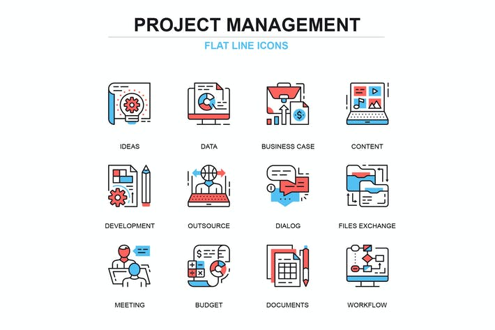 Thumbnail for Thin line project management icons set