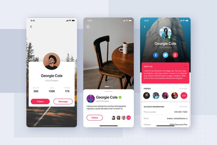 Cover Image For User Profile UI screen for Sketch app
