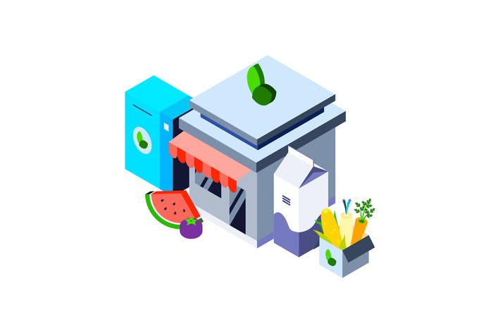 Thumbnail for Organic Food Store Isometric Illustration