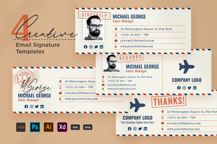 Creative Email Signature V06 - Airmail Style