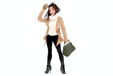 Mode Mädchen posiert mit Sonnenbrille in Ihre Hände