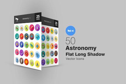 50 Astronomie Flache lange Schatten Icons