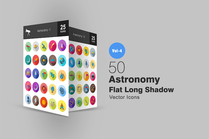 Thumbnail for 50 Astronomy Flat Long Shadow Icons