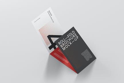 Roll Fold Brochure Mockup Landscape Din A4 A5 A6