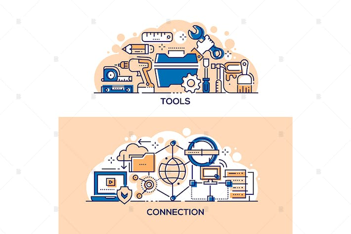 Thumbnail for Handyman tools and internet connection banners