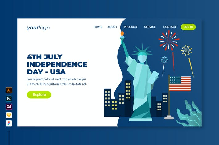Thumbnail for 4th July Independence Day USA - Landing Page