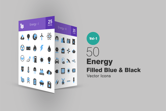 Thumbnail for 50 Energy Blue & Black Icons