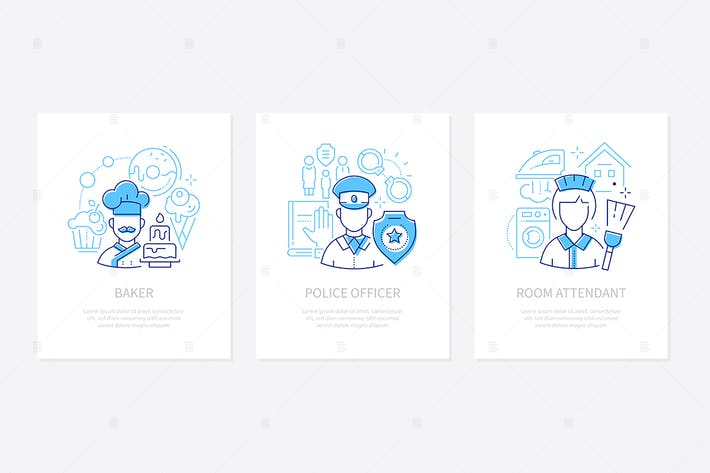 Thumbnail for Different professions and services - line banners