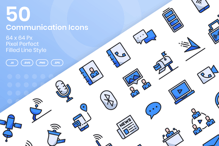 50 Communication Icons Set - Filled Line