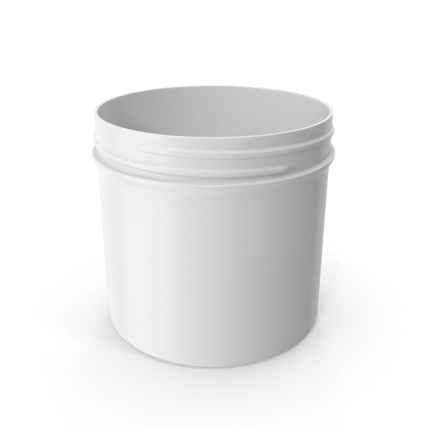 White Plastic Jar Wide Mouth Straight Sided 12oz Without Cap