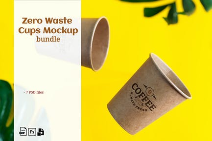 Zero Waste cups mockup set