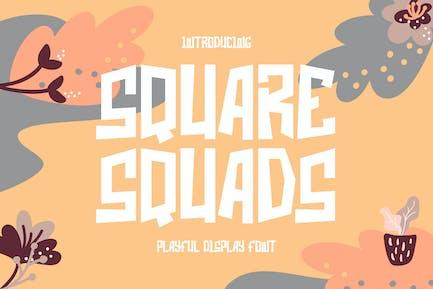 Square Squads - Playful Display Font