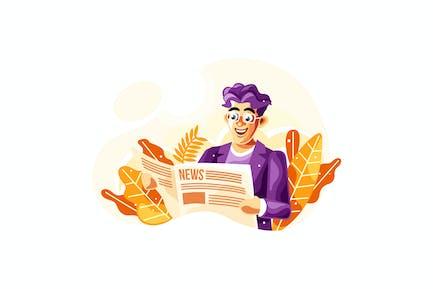 Reading Newspaper Vector Illustration