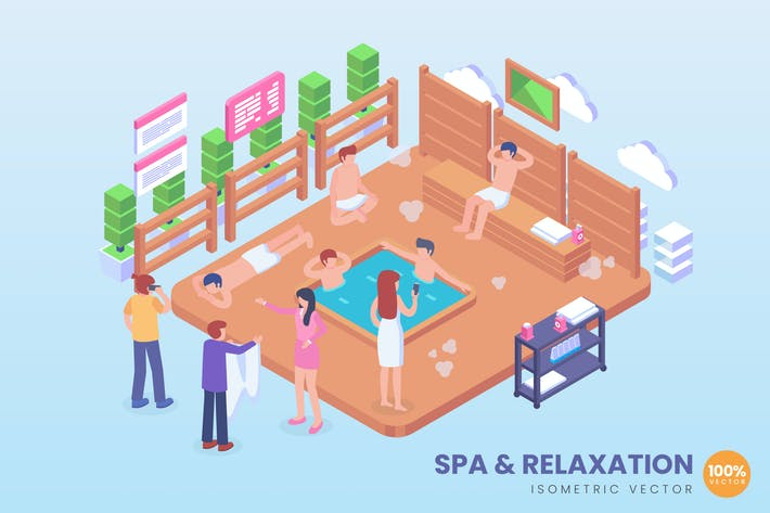 Thumbnail for Isometric Spa & Relaxation Hot Pool Vector Concept