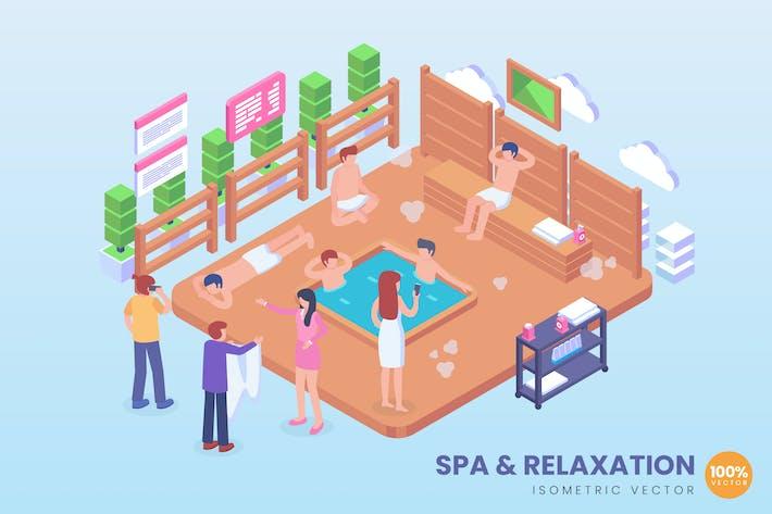 Isometric Spa & Entspannung Hot Pool Vektor Konzept