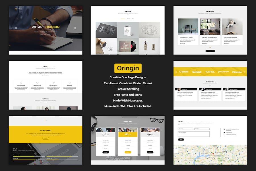 Oringin - Creative Onepage MUSE Modèle