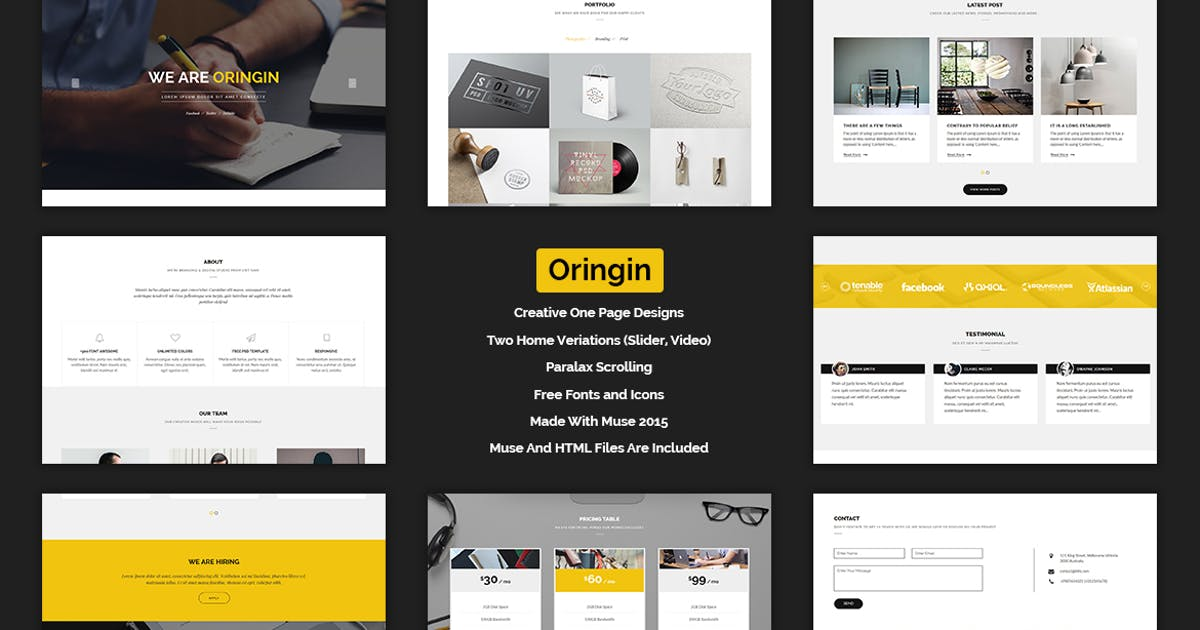 Download Oringin - Creative Onepage MUSE Template by Muse-Master