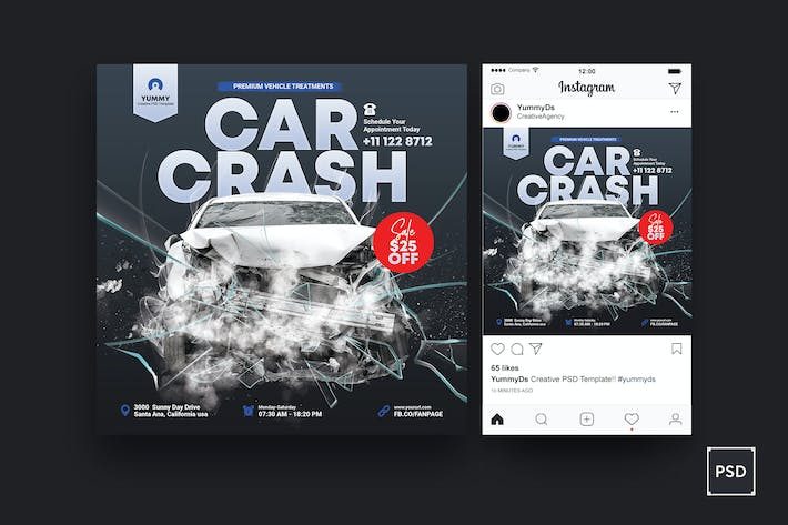Thumbnail for Car Crash Services Square Flyer & Instagram Post