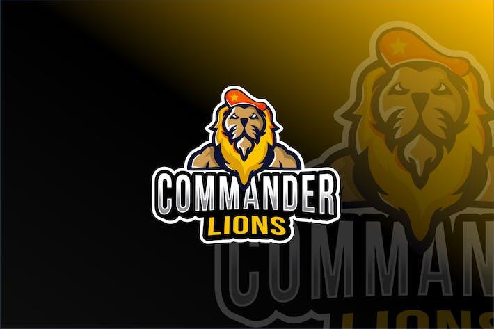 Thumbnail for Commander Lions Esport Logo Template
