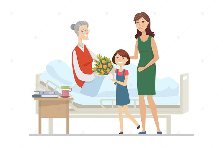Thumbnail for Family visiting grandmother - flat illustration
