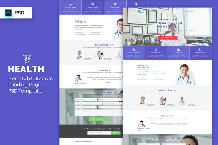 Thumbnail for Hospital & Doctors - Landing Page PSD Template-02