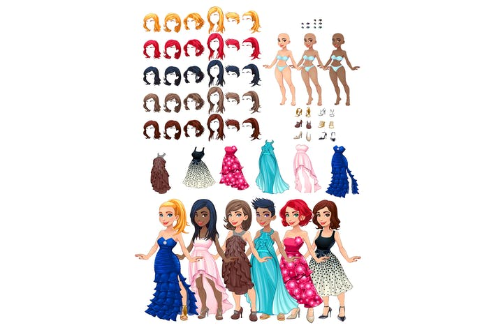 Thumbnail for Dresses and hairstyles game. Vector illustration