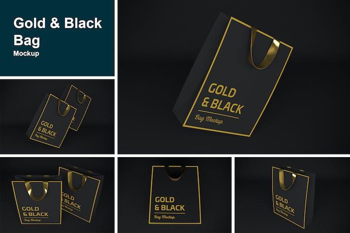 Thumbnail for Gold & Black Bag Mockup
