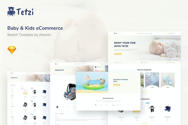 Tetzi - Baby & Kids eCommerce Sketch Template