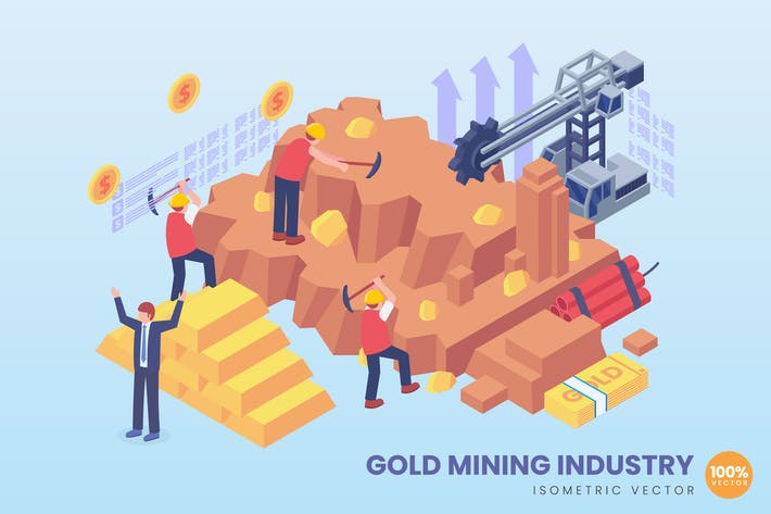 Thumbnail for Isometric Gold Mining Industry Concept