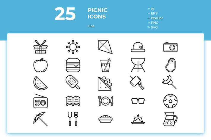 Thumbnail for 25 Picnic Icons (Line)