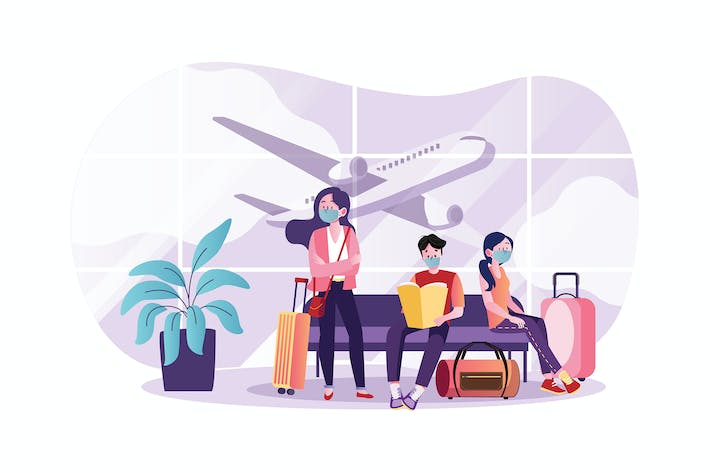 Thumbnail for People wearing mask at the airport