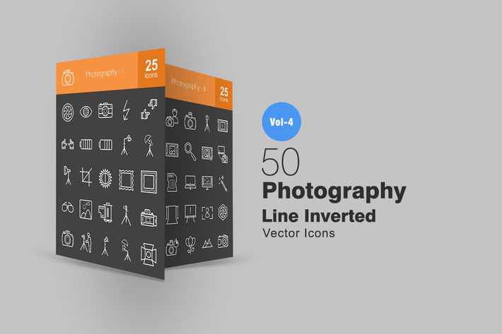 Cover Image For 50 Photography Line Inverted Icons