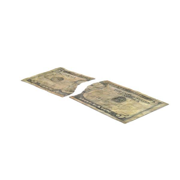 US 5 Dollar Bill Torn
