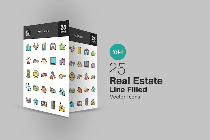 Thumbnail for 25 Real Estate Line Filled Icons