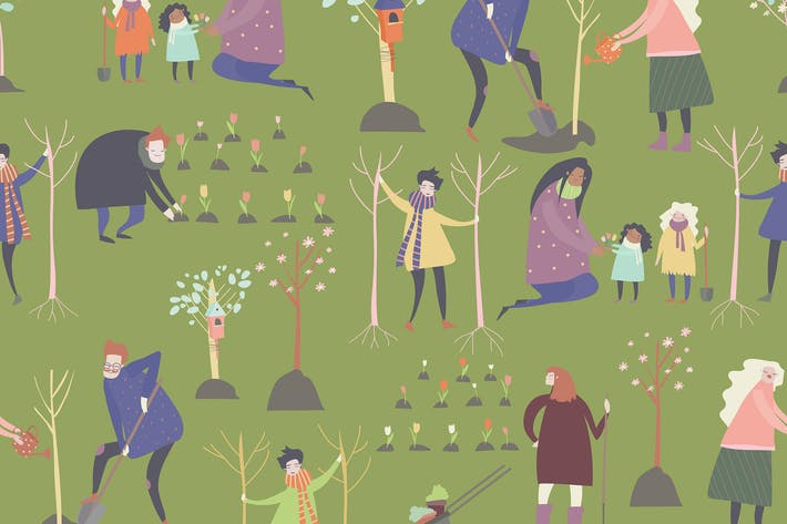 Thumbnail for Vector seamless vector pattern with cartoon people