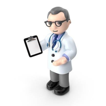 Doctor de dibujos animados con almohadilla