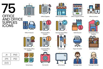 75 Büro- und Bürobedarf-Symbole - Vivid-Serie