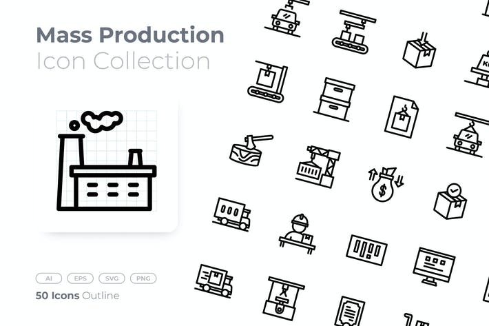 Mass Production Outline Icon